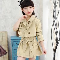 Spring Autumn Children Clothing Girl Trench Coat Kids Girl Double Breasted Dust Coat Teenage Girls Wind Cardigan Outerwear T05
