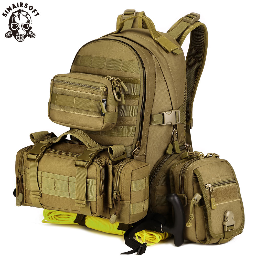 SINAIRSOFT Military Tactical Assault Pack Army Molle Waterproof Outdoor Hiking Camping Hunting Combination backpack