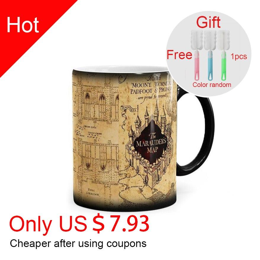 Mapa creativo taza mágica taza bebida caliente taza cambiante Marauders mapa té café leche tazas regalos de la novedad