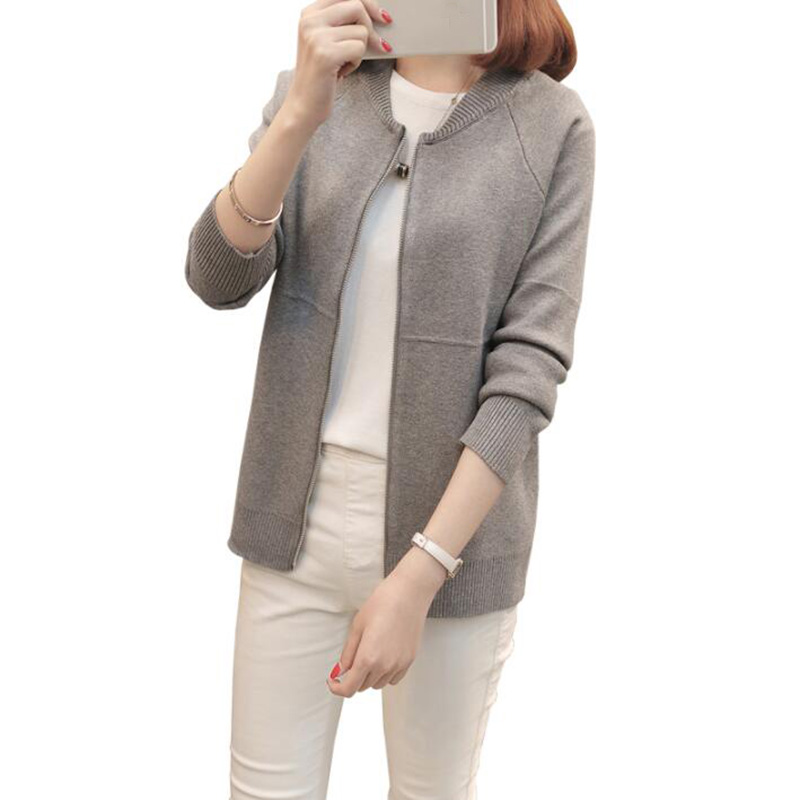 Women sweater zipper 2018 new autumn female sweater cardigan solid color slim student short design outerwear teenage girl