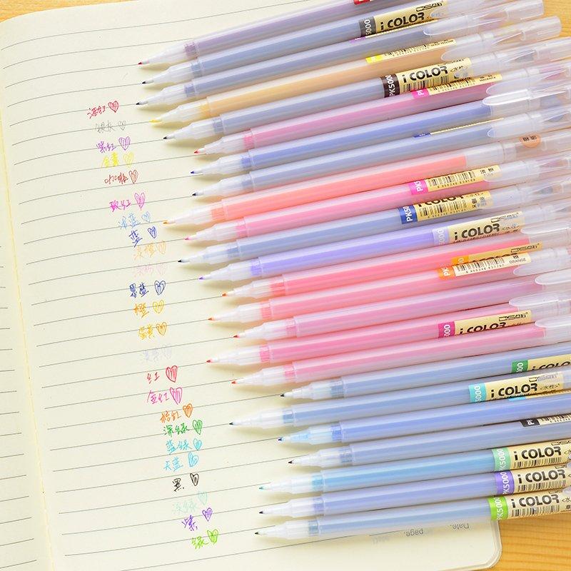 Mirui artigos de papelaria bonito material escolar 12/24/36 cores caneta fibra 0.38mm muito fina gel caneta delineando marcador