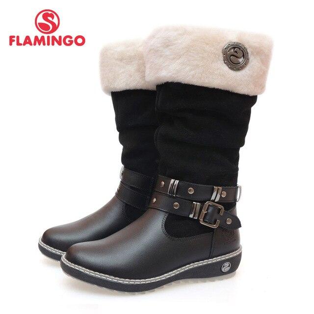 2015 г. качественная модная зимняя кожаная детская обувь для девочек с изображением фламинго, новая коллекция, Нескользящие ботинки с натуральной шерстью, 52-CC340