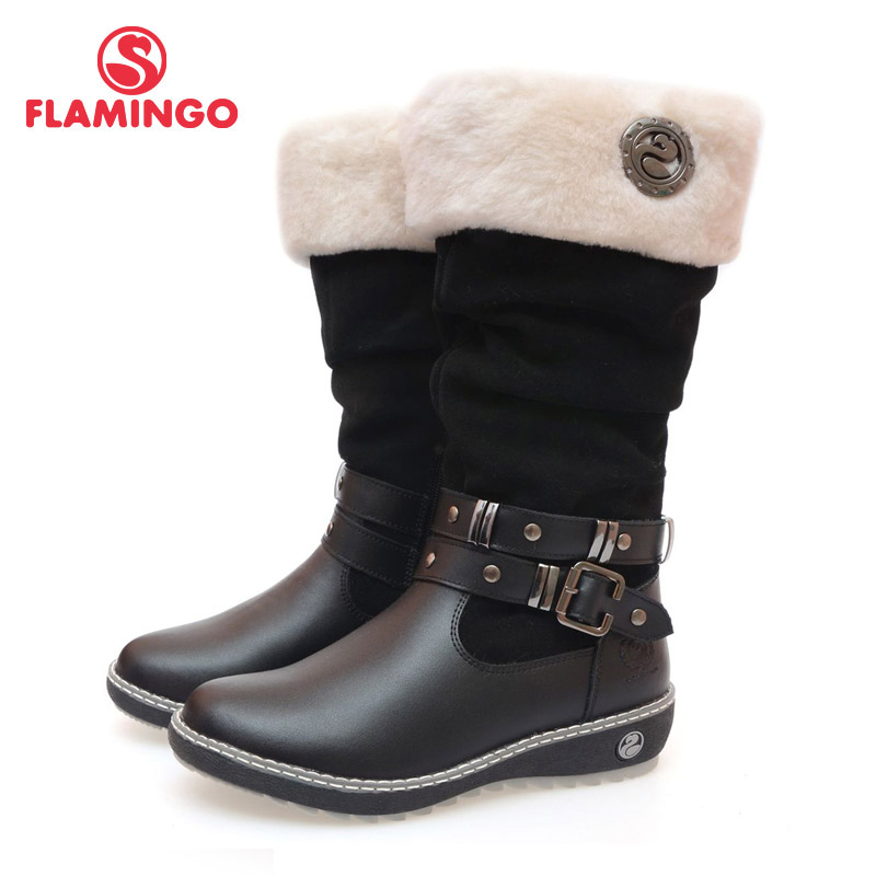 FLAMINGO quality fashion winter leather children