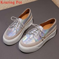 2019 woman brand casual wear shoes cow leather sneakers lace up round toe med bottom platform breathable vulcanized shoes L55
