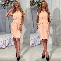 Bodycon Pencil Dress Summer Work Solid Belt Bow Pink Nude White Knee Length V Neck Short