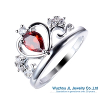 Forma de pera cubic zirconia anillo de plata rojo/verde/azul/verde oliva/púrpura