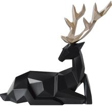 17*6,5*18CM Black creative lucky animal head mannequin body deer resin craft jewelry geometric home Wedding Resin 1set A331