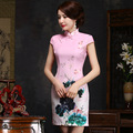 Summer style short sleeve formal dress Cheongsam Top quality Party Dress chi-pao Mini Evening Dress vestidos Tang suit