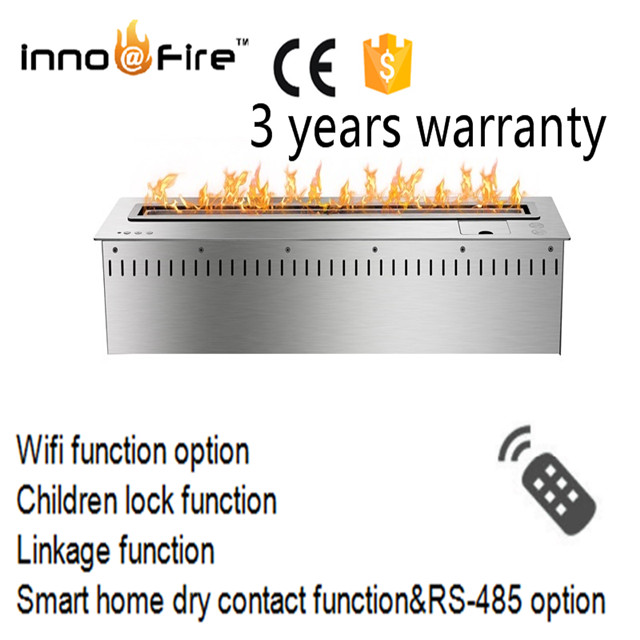36 Inch Smart Remote Control Intelligent Silver And Black  Auto Burner Fireplace