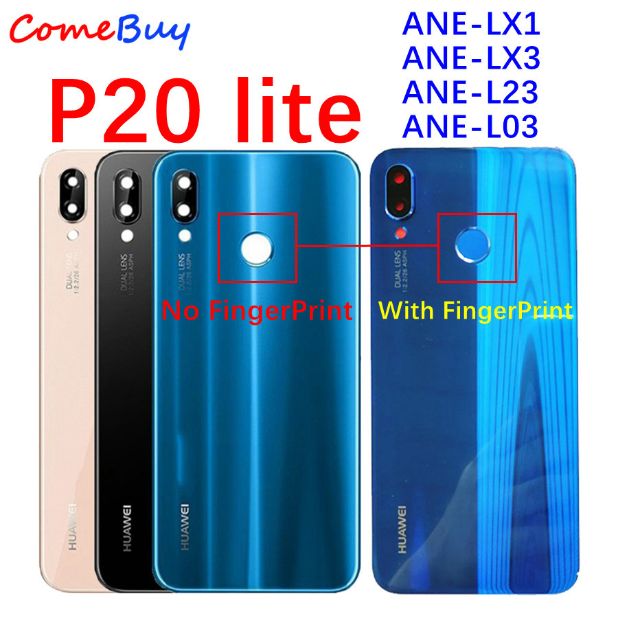 Huawei P20 Lite Battery Cover Back Glass Panel Rear Door Housing Case With Fingerprint Button For Huawei P20 Lite Battery Cover(China)