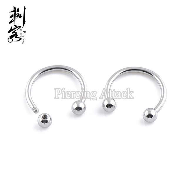316l Surgical Steel Horseshoe 18 Gauge Circular Barbell With Ball Lot Of 100
