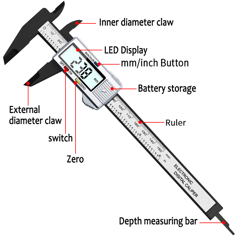 JIGONG High Quality 6inch 150 mm Digital Vernier Caliper Micrometer