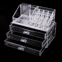 Makeup Case PS Plastic Cosmetics Storage Boxes Transparent 3 Drawers Home Storage Box Makeup Organizer 240x140x190mm