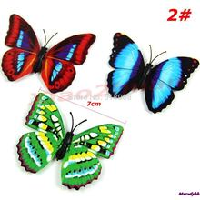 New 7cm 12PCS/lot 3D Magnetic Butterfly Room Wall Decoration Fridge Magnets Sticke Free Shipping