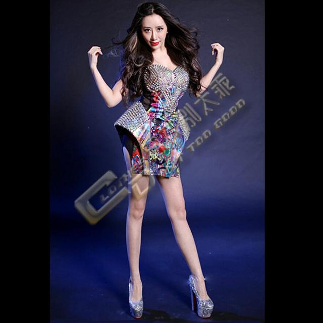 b6c13774aa46 New Fashion Multicolor Rivets Jazz Hiphop Bodysuit Women Sexy Ds Dance  Night Costume Dj Female Singer