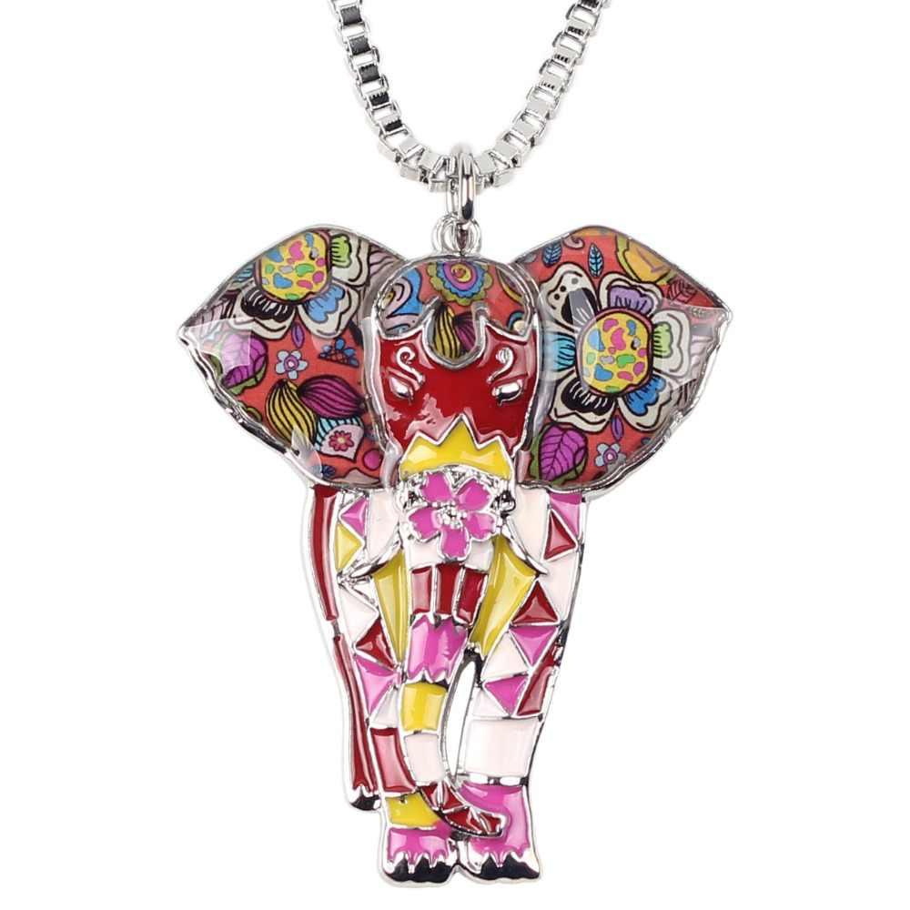 Bonsny Tuyên Bố Maxi Hợp Kim Men Jungel Elephant Vòng Cổ Chuỗi Vòng Cổ Mặt Dây Chuyền Cổ Áo 2017 Thời Trang New Men Trang Sức Phụ Nữ