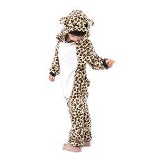 Фланелевые пижамы для малышей с рисунками животных; теплая детская одежда для сна с леопардовым принтом для мальчиков и девочек; одежда для сна; цельная Пижама с героями мультфильмов