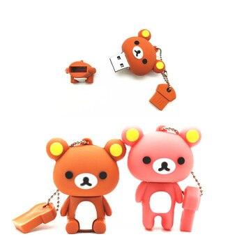 New Lovely USB Flash Drive Rilakkuma Bear Style Pen Drive 4GB 8GB 16GB 32GB 64GB Pendrive Memory Stick Disk Gifts