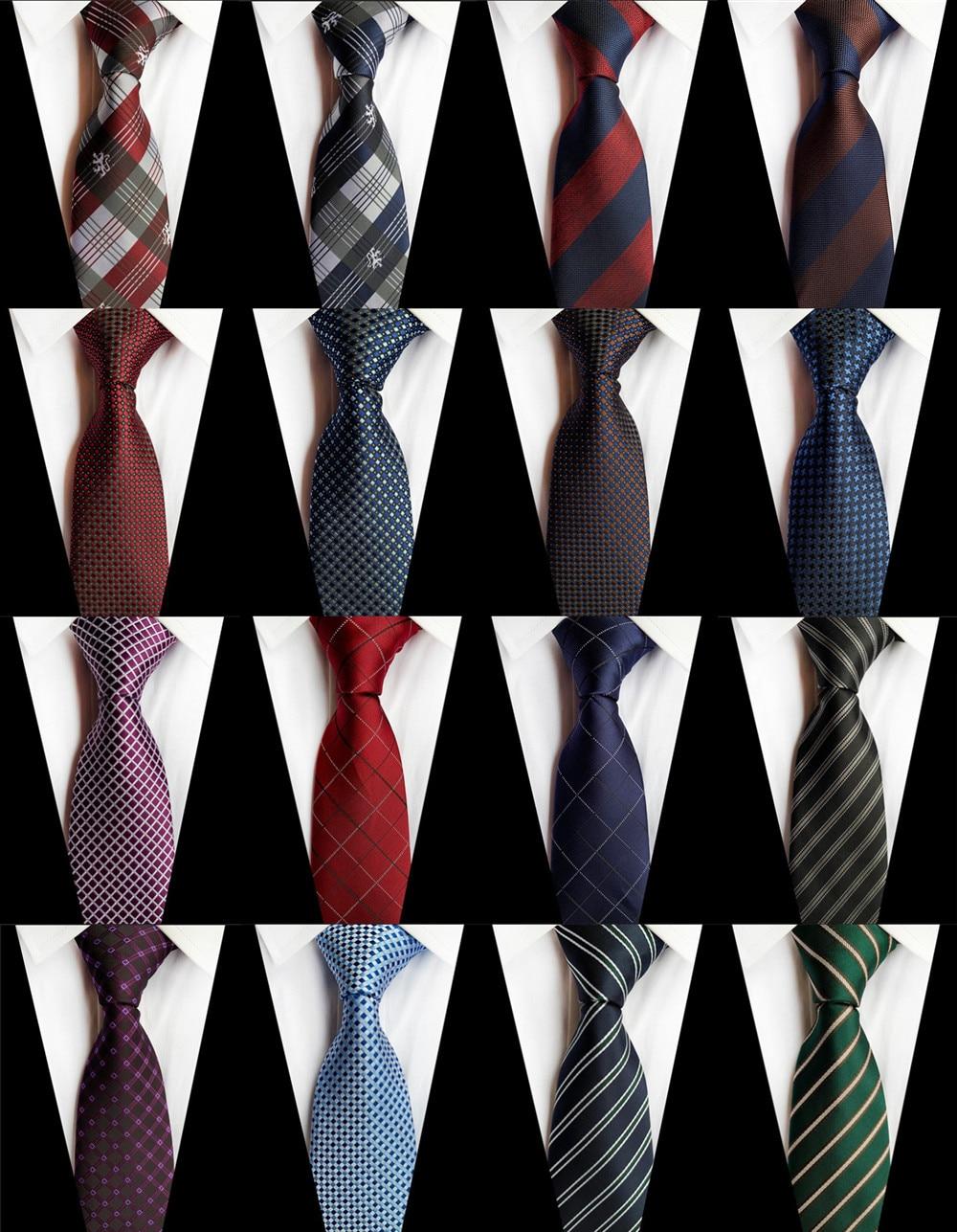 New Dark Color 8cm Ties For Man Classic Stripe Plaid Geometric Necktie Business Wedding Party Gravatas Party Jacquard Ties