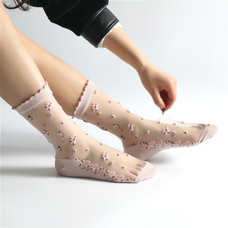 NEW  Women's Mesh Fishnet Socks Transparent Stretch Elasticity Funny Ankle Glass Socks Net Yarn Thin Women Cool Shiny Silk Socks