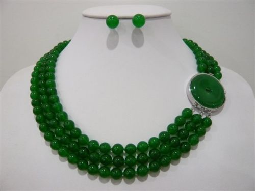 FREE SHIPPING>>@> very good Fancy 3 Row Green/Red 7-8mm stone Necklace Earring Ring Set yellow new wholesale Quartz s цена и фото