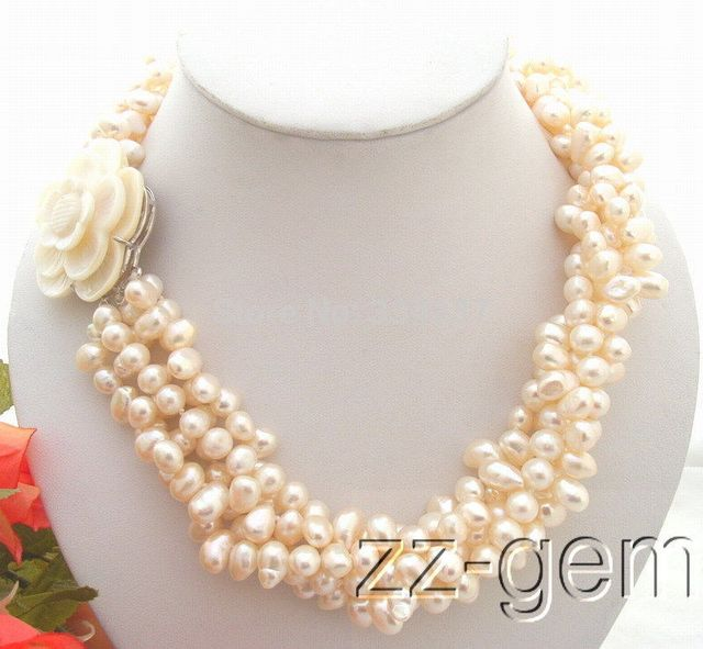 100% Selling Picture full 5Strds White Pearl Necklace-Cameo Flower Clasp