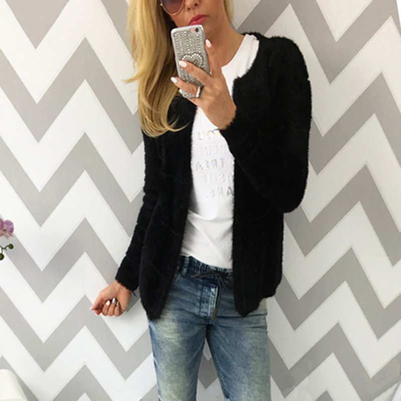Fashion OL Style Winter Women Warm O-Neck Solid Slim Sweater Cardigans