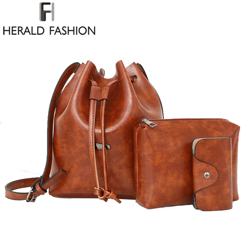 Herald Fashion Woman Bucket Bag 3pcs Set Composite Shoulder Bag Soft PU Leather Messenger Bag Female Drawstring Crossbody Bags 2016 women fashion brand leather bag female drawstring bucket shoulder crossbody handbag lady messenger bags clutch dollar price