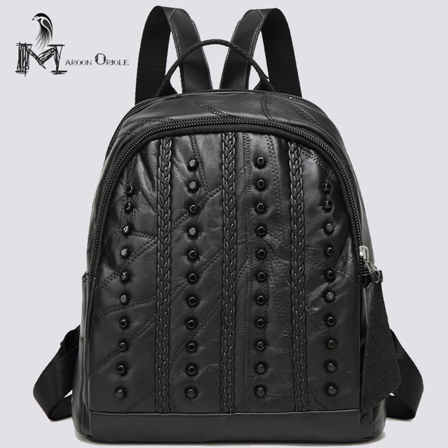 Genuine leather backpack women small black leather sheepskin backpack for  ladies punk bag rivet women stylish backpack 0099472cd9