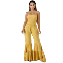 womens sexy jumpsuit strapless yellow pink ruffled big trumpet