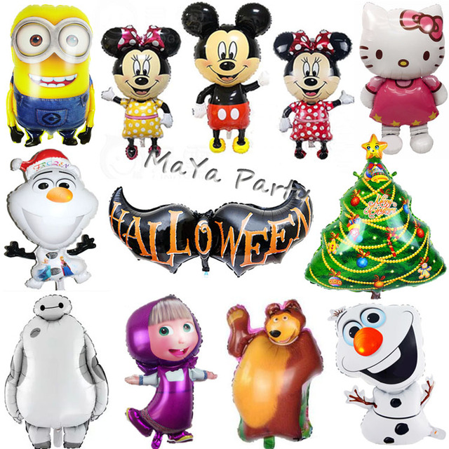 1pc Large Size Hello Kitty/Mickey Minnie/Minions/Masha Christmas Foil balloon Shape Mylar Helium Balloons Birthday Party Gift