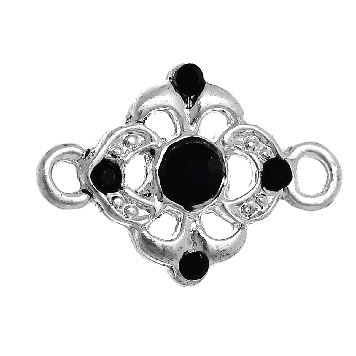 DoreenBeads Zinc alloy Connectors Findings Flower Silver color Hollow Black Rhinestone 18mm(6/8)x 13mm(4/8),2 Pieces 2017 newDoreenBeads Zinc alloy Connectors Findings Flower Silver color Hollow Black Rhinestone 18mm(6/8)x 13mm(4/8),2 Pieces 2017 new