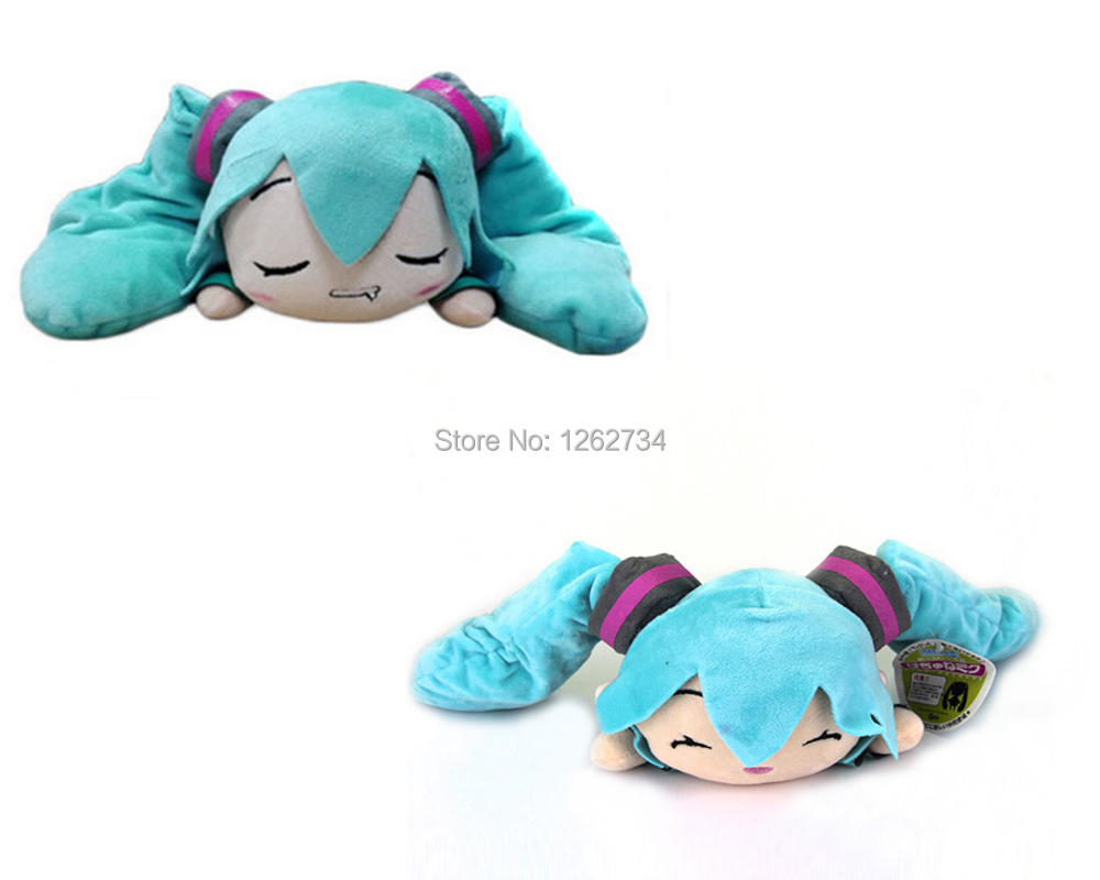 Free Shipping EMS 20Lot 2 Styles Hatsune Miku 25CM Smile Slobber Lying Soft Party Gifts Plush Doll Figure