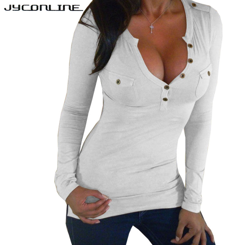 JYConline Vendita Calda Tee Shirt Femme Manica Lunga T-Shirt Donna top Female T-Shirt Button Slim Con Scollo A V Sexy T-Shirt Per donne