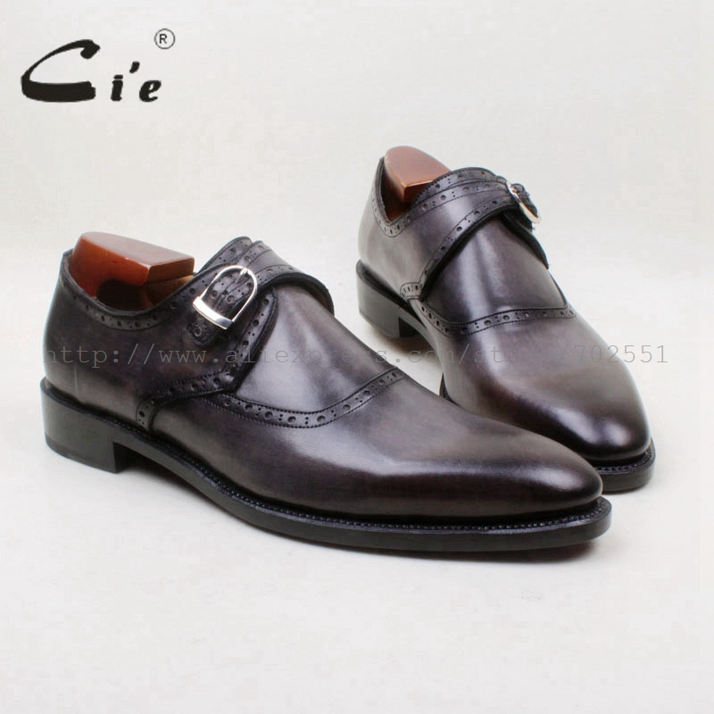 cie Round Toe Hand-Painted Grey Handmade Genuine Calf Leather Goodyear Welted Breathable Leather Bottom Outsole Men Shoe MS145 cie round toe wing tips single monk straps hand painted brown 100%genuine calf leather breathable bottom outsole men shoems129