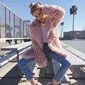 Amor rosa abrigo de piel de invierno las mujeres bereber de lana capa de piel de diseño chaqueta lambwool mullida piel de imitación de felpa abrigo prendas de vestir exteriores de lujo