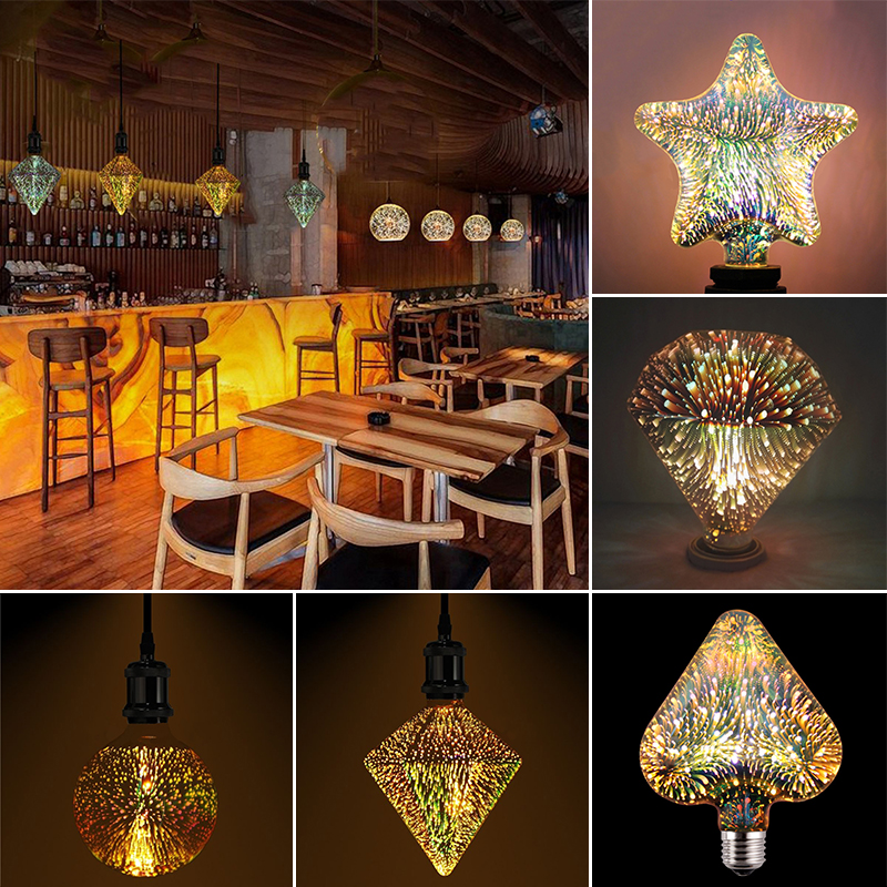 3D E27 LED Light Bulb Fireworks Decorative Light Bulb For Party Holiday Decoration Heart G125 Point Drill Star Flat Drill Light палатка holiday 3 кт3018