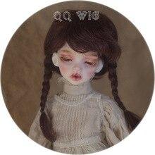 Новое поступление 1/4 1/6 Bjd парик Msd Sd милые темно-коричневые цвета с двумя косами мохер Мода для кукольных волос парик