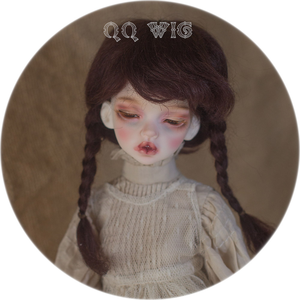 2018 New Arrival 1/4 1/6 Bjd Wig Msd Sd Cute Dark Brown Colors With Two Braid Mohair Fashion For Doll Hair Wig