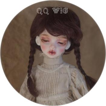Новинка, 1/4 1/6 Bjd парик Msd Sd милый темно-коричневый цвет с двумя косами, мохеровый модный для кукольных волос, париков