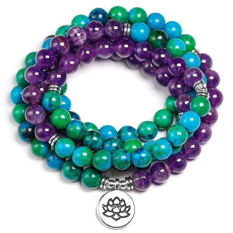 Natural Amethyst 8mm Stone Chrysocolla Beads Healing Bracelet 108 Mala Prayer Yoga Strand Bracelets Women Men Jewelry