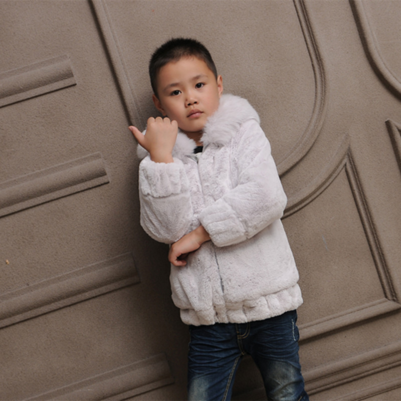 Boy imitation rabbit long-sleeved jacket coat hooded fur short jacket Warm 2018 autumn and winter new jacket versatile FPC-248