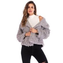 European And American New Winter Women Coat Female Solid Color Lapel Fur Warm Wild Short Jacket Girls Fashion Sweater Coat
