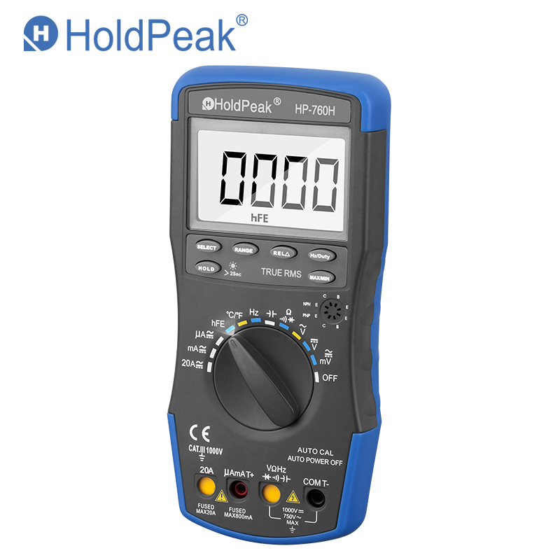 HoldPeak HP 760H True RMS Auto Ranging Digital Multimeter Meter with Min Max Value Frequency Temperature