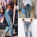 BringBring 2016 Cuentas Jeans Mujeres Grandes Del Agujero Pantalones de Mezclilla para mujer Ripped Jeans Pantalones Ocasionales de Buena Calidad 1654