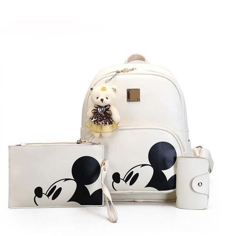 Rusoonnic Composite Backpack School Bags For Teenager Women Mickey Backpacks Girl Pu Bagpack Mochila Mujer 3pcs/set