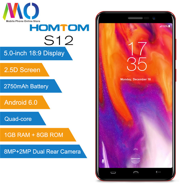HOMTOM S12 Android 6.0 18:9 5.0 inch Full Màn Hình Điện Thoại Di Động MTK6580 Quad Core 8 GB ROM Dual Camera Sau 3G Ô Thông Minh Điện Thoại