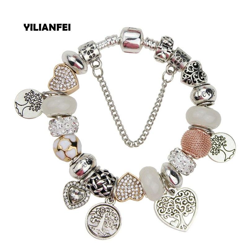ChangBizi The Tree of Life Pendant Loving Heart White Crystal/Glass Beads Charm Pandora Bracelets & Bangles For Women BT0017
