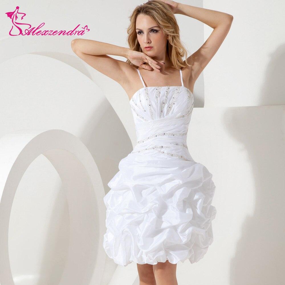 Alexzendra White Short Mini Wedding Dress 2018 with Straps Ruffles ...