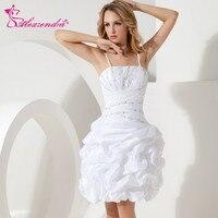 Alexzendra White Short Mini Wedding Dress 2018 with Straps Ruffles Simple Beads Bridal Gowns Plus Size